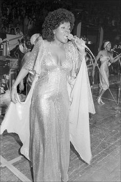 American musician Gloria Gaynor performs at the Disco Convention at Madison Square Garden New York New York November 11 1975