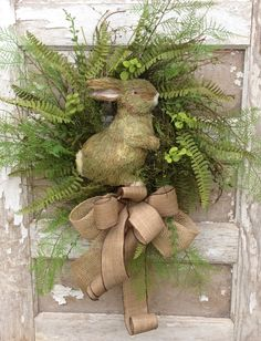 Easter Wreath for Double Doors, Natural Easter Wreath, Fern Wreath, Bunny Wreath, Natural looking Easter Wreath More Easter Wreaths Double Door Wreaths, Spring Door Wreaths, Easter Wreaths, Holiday Wreaths, Summer Wreath, Diy Ostern, Easter Parade, Deco Floral, Easter Holidays