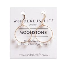 moonstone & gold mini hoops  www.wanderlustlife.co.uk