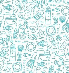 Vector of 'Seamless pattern with sea creatures doodles and nautical stuff' on Colourbox