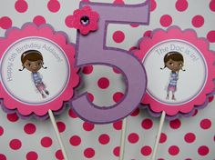 6 Doc McStuffins Birthday Party Centerpiece by sweetheartpartyshop, $12.00
