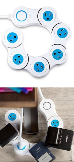 Pivoting power strip that bends into circular, semi-circular, and zig-zag shapes to fit around furniture and in tight spaces.