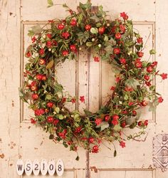 Berrylicious Artificial Red Berry Wreath For Front Door