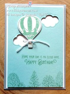 Lift Me Up with Lovely As A Tree. Uses Smoky Slate, Whisper White and Soft Sky with Mint Macaron Classic Stampin' Ink and Lift Me Up stamp set; Up, Up & Away Thinlit Dies and Lovely As A Tree stamp set