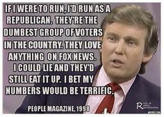 If I were to run, I'd run as a Republican. They're the dumbest group of voters in the country. They love anything on Fox News. I could lie and they'd still eat it up. I bet my numbers would be terrific. Youre My Person, Lol, People Magazine, That Way, Dumb And Dumber, Just In Case, Donald Trump, Donald Duck, Wisdom