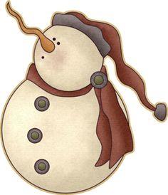 PRIMITIVE SNOWMAN Winter ClipartChristmas