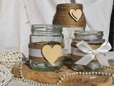 Homemade wedding centrepiece jars for hire or to buy! Look great with flowers or tealights Homemade Wedding Centerpieces, Jar Centerpieces, Wedding Decorations, Wedding Jars, Wedding Ideas, Wooden Hearts, Twine, Decorative Items, Tea Lights