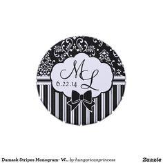 Damask Stripes Monogram- Wedding Mints Jelly Belly Tin