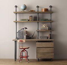 Industrial Pipe Single Desk Shelving With Drawers Home for Diy Pipe Desk Shelves Pipe Furniture, Industrial Furniture, Industrial Workspace, Industrial Pipe Desk, Furniture Vintage, Vintage Industrial, Luxury Furniture, Deco Cafe, Desk Shelves