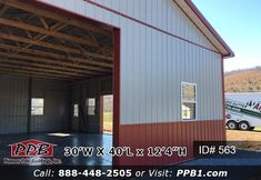 Pole Building with a concrete floor and two-tone metal siding. Pole Buildings, Metal Siding, Two Car Garage, Garage Design, 4 H, Concrete Floors, Garages, Garage Doors, Construction