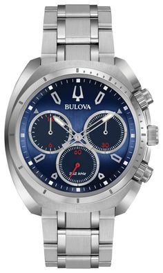 Bulova Curv Chronograph Watch 96A185 from the new CURV Collection with 262 kHz vibrational frequency for precise accuracy and water resistance to 30 meters.