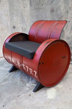 Industrial Furniture Barrel Chair Distressed Red Vinyl padded