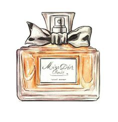 Miss Dior Cherie, Perfume Bottle, Watercolor Illustration, Art Print Perfumes Dior, Perfume Hermes, Chanel Perfume, Beauty Illustration, Watercolor Illustration, Bottle Drawing, Chanel Art, Miss Dior, Fragrance Parfum
