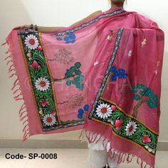 Pink color Tassar-Tassar Dupatta with Pattachitra painting from Odisha with beautiful borders and colorful motifs all over Size: L*W (2.5 mtr *1 mtr)