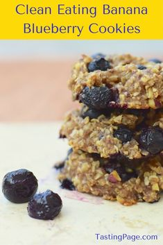 Clean Eating Banana Blueberry Cookies - a healthy recipe that you can eat for breakfast. Gluten free, dairy free & vegan | TastingPage.com
