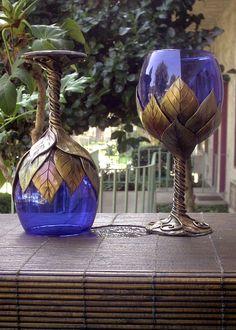 Cobalt Goblets w/ Multi-Gold Leaves