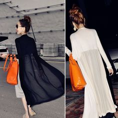 NEW+Splicing+Chiffon+Maxi+Long+Cardigan+See+Through+Sheer+Mercerized+Coat+Jacket