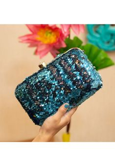Beaded Clutch, Clutch Purse, Teal Blue, Sequins, Silk, Box, Purses, Color, Image