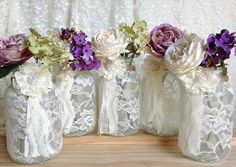 5 ivory lace covered jar - perfect for wedding decorations, bridal shower decoration, home decor, gift or for you