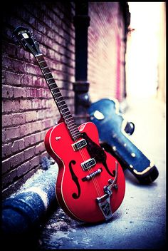 .Red electric guitar.
