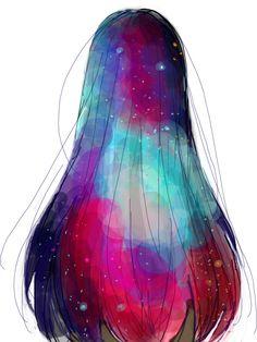 Hair Galaxy ~ | We Heart It | hair, girl, and galaxy
