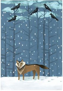 """Artist Ande Cook's enchanting painting of a lone wolf on a snowy evening makes an extremely cool vehicle for wintry greetings. We're offering the enigmatic image as a set of twelve blank 5""""x7"""" note cards, with envelopes. Send a card to every member of your pack--and you may want to keep one for framing, too! (Check out the artist's website at www.andecookstudio.com.)"""