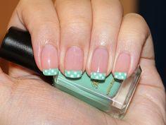 Super cute nails! Polka dots + French tips = awesomeness.