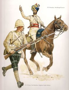 """Private 2nd Battalion Highland Light Infantry &  Rissalder 10th Bengal Lancers c.1898. A Colour plate from """"The Frontier Ablaze"""""""