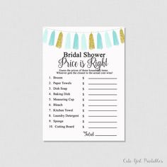 Printable Price is Right Game - Blue Bridal Shower Games - Price Is Right Bridal Game - Printable Bridal Shower Games 0002B