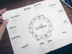 bullet journal | birthday chart   ig: joeybean