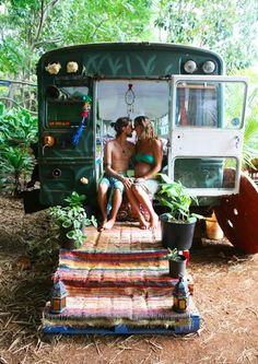 Great idea for a back deck on my school bus home.  -~-~-~-~-~-~-~-~-~-~-~-~-~-~ Simple Living in a Converted School Bus