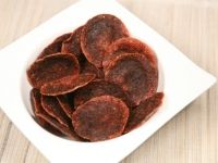 Salami Chips  1. On a microwave safe plate covered in 2 paper towels layout about 9 slices of salami.   2. Place in the microwave and cook of high for 2 minutes.   3. Transfer to a paper towel to remove grease.   4. Serve alone or with your favorite dip. Enjoy!