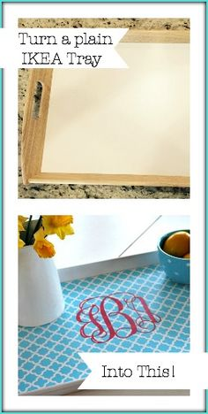An EASY DIY Monogrammed Tray for Spring