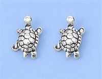 Sterling Silver Turtle Stud Earrings (bestseller)