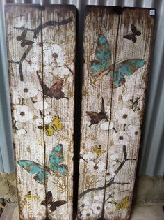 What a great way to turn old boards into an outside or inside decoration. I could see making this into a room divider. Simply beautiful,,,JW - Butterfly Timber panels - #bornbohemian