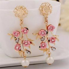 Find More Drop Earrings Information about   Fashion Elegant Women Silver Plated Flower Crystal Rhinestone Ear Pendant Earrings,High Quality pendant earrings,China ear pendant Suppliers, Cheap earrings fashion from Enduring Store on Aliexpress.com