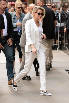 """Kristen Stewart arrives at ABC Studios in New York City for an appearance on """"Good Morning America.""""  Works for us: The shirt situation's underwhelmi"""
