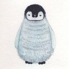 Wildlife Penguin art watercolour painting by heartsandballoons, $12.00