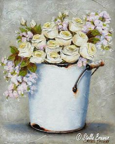 ✿Fragrant Scent Of Roses✿ Stella Bruwer white enamel tall bucket with white ranunculus and soft pink flowers Vintage Flowers, Pink Flowers, Stella Art, South African Artists, Beautiful Flower Arrangements, Spring Art, Amazing Flowers, Flower Decorations, Painting Inspiration