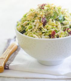 Brussels Sprouts Salad with Apples, Cranberries, and Aged Gouda