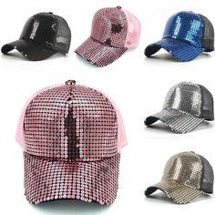 16b39c82878e7 Adult Glitter Sequins Trucker Mesh Hat Snapback Baseball Cap Adjustable  Size Blank Baseball Caps