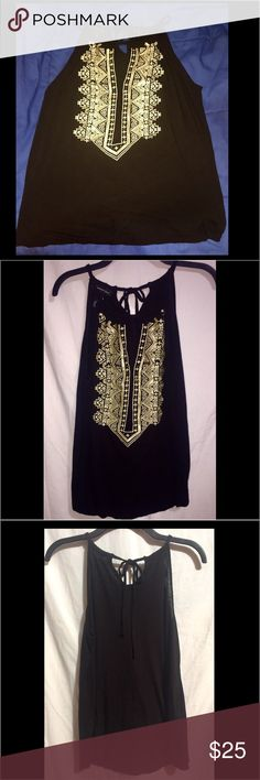 ❤NWOT. GORGEOUS Inc. M  Tank w/ Gold Aztec Design NEVER WORN. Medium Black Sleeveless Top with Gold Embroidered Aztec Design with Bling. Body: 100.% Rayon  Embroidery:  88% Polyester 12% Metallic INC International Concepts Tops
