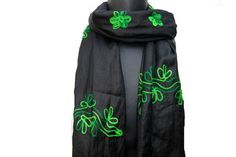 Embroidered scarf/ viscose stole/ floral scarf/ gift  scarf /