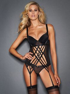 Shop the Cleo Corset With Crossover Straps with a sexy two shoulder strap design finished with gold studs at amazing prices from Frederick's of Hollywood now! Hot Lingerie, Black Lingerie, Lingerie Models, Lingerie Sleepwear, Nightwear, Scarlett Johansson, Sexy Corset, Hot Outfits, Lingerie Collection