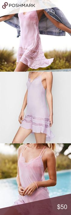 """VS Chiffon and Lace Slip Victoria's Secret Chiffon and Lace Slip in lilac lavender Get all the frills in a slip of sheer lace and airy ruffled chiffon. Can be used also as a beach cover-up V-neck Sheer, unlined Adjustable straps Pulls on; no closure 33½"""" from shoulder; hits at mid-thigh in front Lace trim at neckline and around skirt Pleated high-low hem Imported polyester/nylon Victoria's Secret Intimates & Sleepwear Chemises & Slips"""