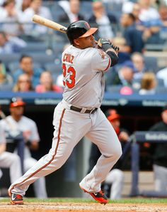 Orioles designated hitter Nelson Cruz hits his second single in the fourth inning against the New York Yankees at Yankee Stadium.