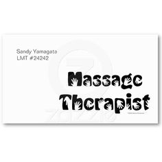 Massage Therapist Business Cards Template by Alinaspencil....what a cute idea!