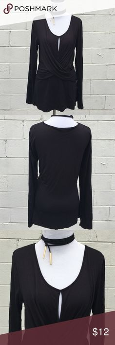 Sexy Black Top Sexy top with peekaboo slit preloved still lots of life left. Leather lariat choker necklace is available for sale. Get a better value when you bundle. Boston Proper Tops Blouses