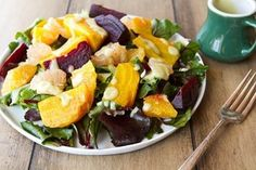 Healthy citrus beet salad with avocado lime dressing. I've actually never roasted beets before - this is the season I try it!