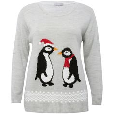 M&Co Plus Penguin Jumper (€29) ❤ liked on Polyvore featuring tops, sweaters, grey, plus size, plus size tops, grey knit sweater, plus size christmas tops, christmas sweater and long sleeve sweaters